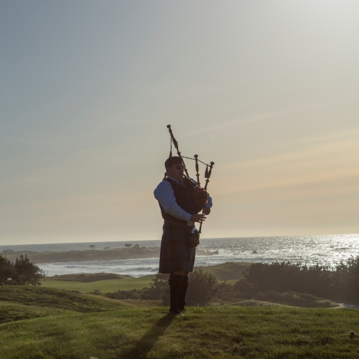 bagpiper at Spanish Bay Inn