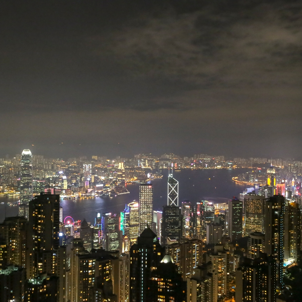 a view of Victoria harbour from the Peak